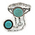Vintage Inspired Round Turquoise Stone Flex Bracelet With Ring Attached - 20cm Length, Ring Size 7/8