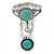 Vintage Inspired Round Turquoise Stone Flex Bracelet With Ring Attached - 20cm Length, Ring Size 7/8 - view 7