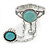 Vintage Inspired Round Turquoise Stone Flex Bracelet With Ring Attached - 20cm Length, Ring Size 7/8 - view 9