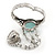 Vintage Inspired Round Turquoise Stone Flex Bracelet With Ring Attached - 20cm Length, Ring Size 7/8 - view 5