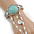 Vintage Inspired Round Turquoise Stone Flex Bracelet With Ring Attached - 20cm Length, Ring Size 7/8 - view 3