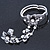 Vintage Inspired Crystal Floral Flex Bracelet With Daisy Flower Crystal Ring Attached - 18cm Length, Ring Size 7/8 - view 6