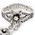 Vintage Inspired Crystal Floral Flex Bracelet With Daisy Flower Crystal Ring Attached - 18cm Length, Ring Size 7/8 - view 5