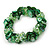Grass Green Glass Beads With Shell Chips Clustered Stretch Bracelet - 19cm L