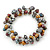 7mm Multicoloured Freshwater Pearl and Transparent Glass Bead Stretch Bracelet - 18cm L - view 1