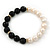 10mm Light Cream Freshwater Pearl with Black Faceted Onyx Stone Stretch Bracelet - 18cm L - view 7