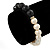 10mm Light Cream Freshwater Pearl with Black Faceted Onyx Stone Stretch Bracelet - 18cm L - view 4