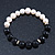10mm Light Cream Freshwater Pearl with Black Faceted Onyx Stone Stretch Bracelet - 18cm L - view 2