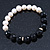 10mm Light Cream Freshwater Pearl with Black Faceted Onyx Stone Stretch Bracelet - 18cm L - view 9