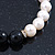 10mm Light Cream Freshwater Pearl with Black Faceted Onyx Stone Stretch Bracelet - 18cm L - view 10