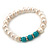9mm Freshwater Pearl With Semi-Precious Turquoise Stone Stretch Bracelet - 18cm L - view 7