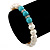 9mm Freshwater Pearl With Semi-Precious Turquoise Stone Stretch Bracelet - 18cm L - view 4