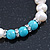 9mm Freshwater Pearl With Semi-Precious Turquoise Stone Stretch Bracelet - 18cm L - view 5