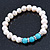 9mm Freshwater Pearl With Semi-Precious Turquoise Stone Stretch Bracelet - 18cm L - view 6
