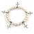 10mm Freshwater Pearl With Cross Charm Stretch Bracelet (Silver Tone) - 20cm L