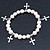 10mm Freshwater Pearl With Cross Charm Stretch Bracelet (Silver Tone) - 20cm L - view 5