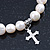 10mm Freshwater Pearl With Cross Charm Stretch Bracelet (Silver Tone) - 20cm L - view 4