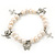 10mm Freshwater Pearl With Butterfly and Cross Charm Stretch Bracelet (Silver Tone) - 20cm L - view 6