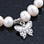 10mm Freshwater Pearl With Butterfly and Cross Charm Stretch Bracelet (Silver Tone) - 20cm L - view 2