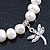 10mm Freshwater Pearl With Butterfly and Cross Charm Stretch Bracelet (Silver Tone) - 20cm L - view 5