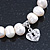 10mm Freshwater Pearl With Heart and Turtle Charm Stretch Bracelet (Silver Tone) - 20cm L - view 3