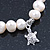 10mm Freshwater Pearl With Heart and Turtle Charm Stretch Bracelet (Silver Tone) - 20cm L - view 4