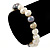 9mm Classic Light Cream and Grey Freshwater Pearl Stretch Bracelet - 18cm L - view 3