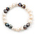 9mm Classic Light Cream and Grey Freshwater Pearl Stretch Bracelet - 18cm L - view 2