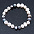 9mm Classic Light Cream and Grey Freshwater Pearl Stretch Bracelet - 18cm L