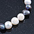 9mm Classic Light Cream and Grey Freshwater Pearl Stretch Bracelet - 18cm L - view 5