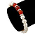 8mm White Freshwater Pearl with Semi-Precious Carnelian Stone Stretch Bracelet - 18cm L - view 3