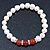8mm White Freshwater Pearl with Semi-Precious Carnelian Stone Stretch Bracelet - 18cm L - view 4