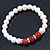 8mm White Freshwater Pearl with Semi-Precious Carnelian Stone Stretch Bracelet - 18cm L - view 6