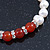 8mm White Freshwater Pearl with Semi-Precious Carnelian Stone Stretch Bracelet - 18cm L - view 5