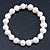 9mm Classic Light Cream Freshwater Pearl With Crystal Stud Spacer Stretch Bracelet - 18cm L