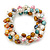 7mm Multicoloured Freshwater Pearl and Transparent Glass Bead Stretch Bracelet - 18cm L - view 2