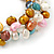 7mm Multicoloured Freshwater Pearl and Transparent Glass Bead Stretch Bracelet - 18cm L - view 6