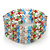 5 Strand Multicoloured Glass Bead Flex Bracelet With Crystal Bars - 20cm L - view 10