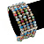 5 Strand Multicoloured Glass Bead Flex Bracelet With Crystal Bars - 20cm L - view 2