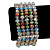 5 Strand Multicoloured Glass Bead Flex Bracelet With Crystal Bars - 20cm L - view 9