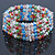 5 Strand Multicoloured Glass Bead Flex Bracelet With Crystal Bars - 20cm L - view 4