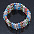 5 Strand Multicoloured Glass Bead Flex Bracelet With Crystal Bars - 20cm L - view 8