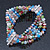5 Strand Multicoloured Glass Bead Flex Bracelet With Crystal Bars - 20cm L - view 6