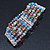 5 Strand Multicoloured Glass Bead Flex Bracelet With Crystal Bars - 20cm L - view 7