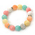 12mm Pastel Multicoloured Dyed Jade Semi-Precious Stone, Crystal Ball, Crystal Spacer Flex Bracelet - 18cm L