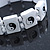 White 'Yin Yang' Stretch Wooden Icon Bracelet - Adjustable - view 2