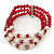 3 Strand Red Glass Bead, White Freshwater Pearl Stretch Bracelet - 19cm L - view 6
