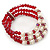 3 Strand Red Glass Bead, White Freshwater Pearl Stretch Bracelet - 19cm L - view 7