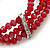 3 Strand Red Glass Bead, White Freshwater Pearl Stretch Bracelet - 19cm L - view 5