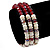 3 Strand Red Glass Bead, White Freshwater Pearl Stretch Bracelet - 19cm L - view 2